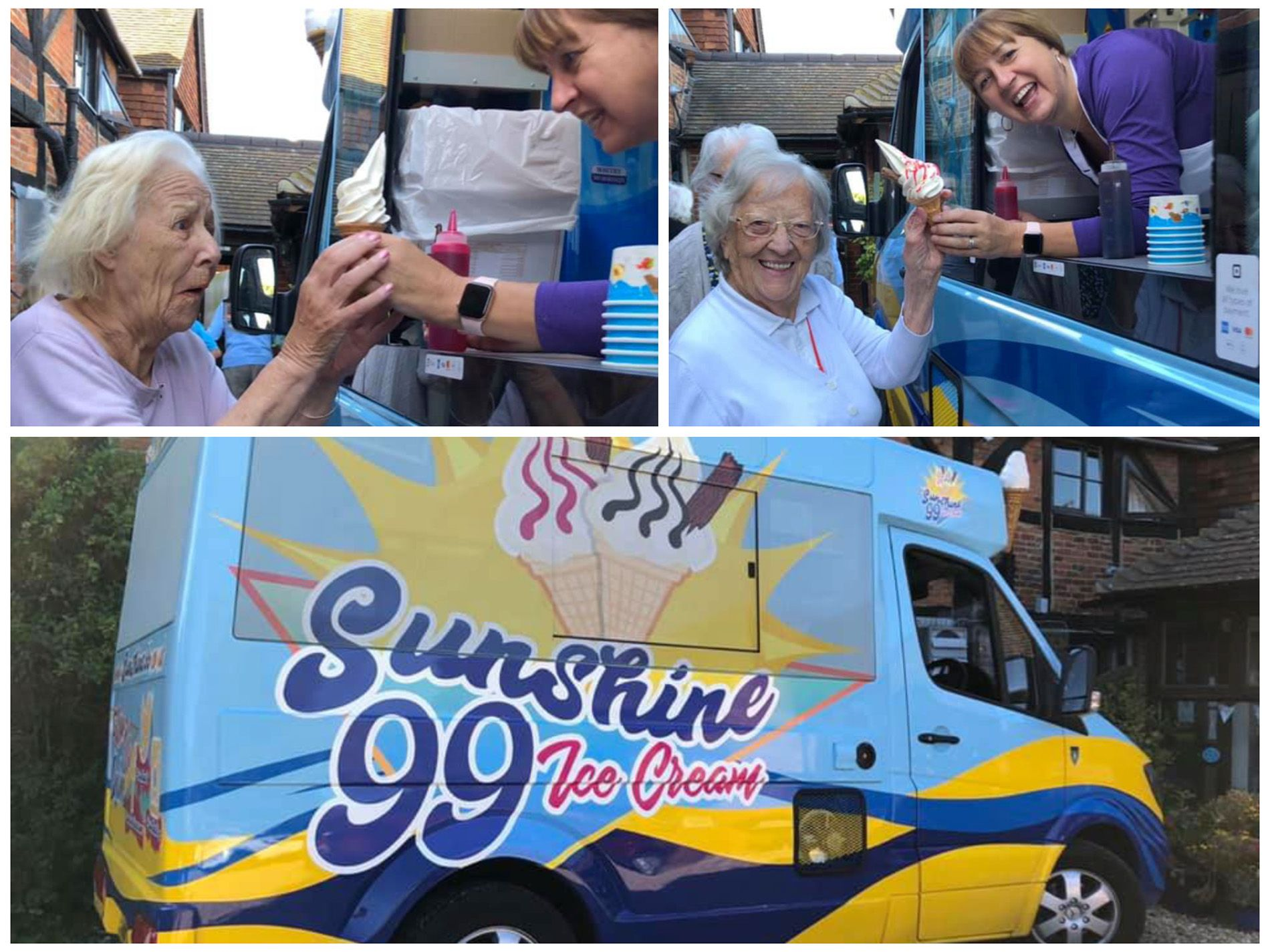 Old Raven House Care Home residents enjoy Flake 99 ice creams.